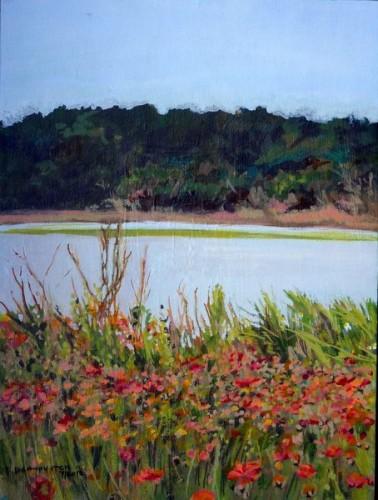 Marsh view and wildflowers