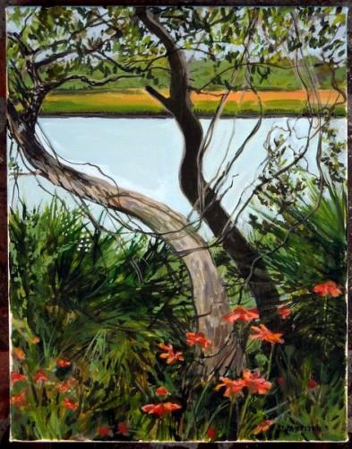 GTMNERR view North A1A Acrylic on canvas 11x14