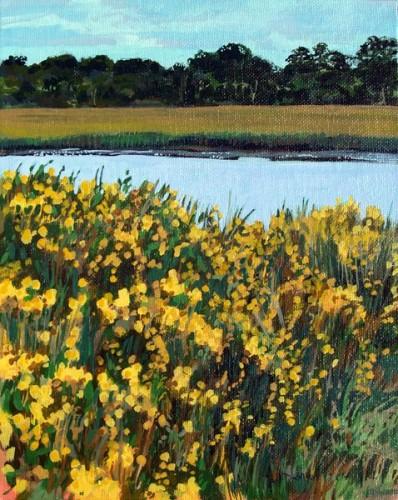 Marsh scene with yellow flowers